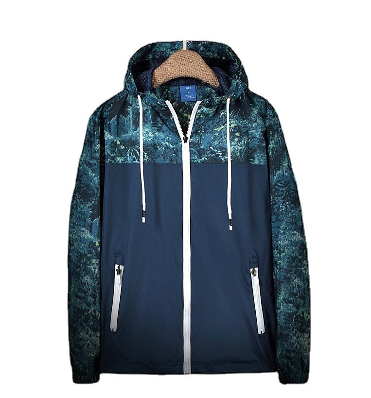 Custom Design Outdoor Beach Windbreak Polyester Print Men Hooded Jackets Camping Camo Polo Sport Nylon Cotton Lined Windbreaker