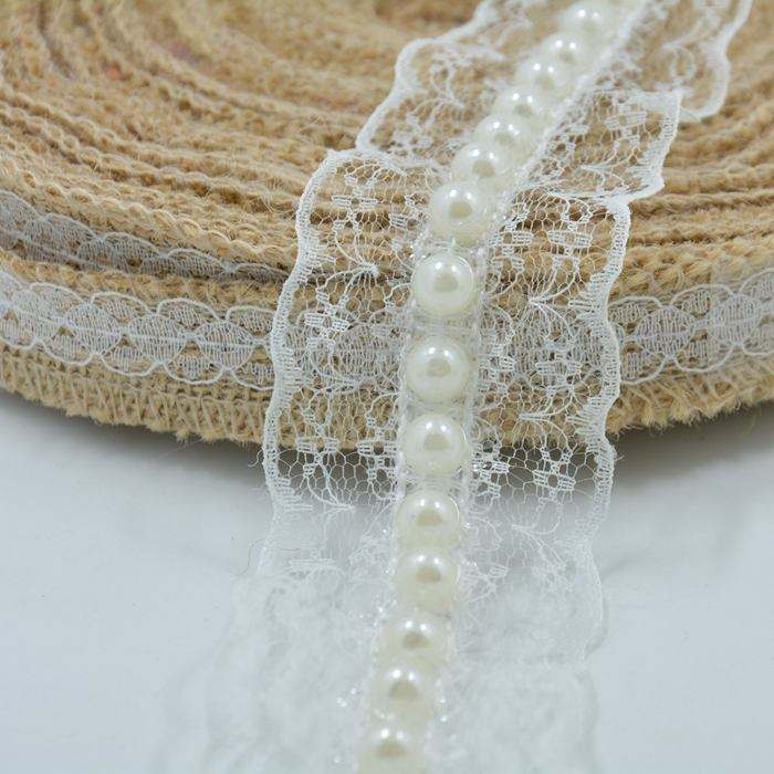 40mm White Lace with 8mm Pearl Beaded Trimming LACE Ribbon for Cloth Shoes Home Decoration