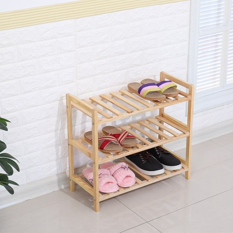 Promotional High Quality 3tiers Wooden Rack Storage Shoe Racks