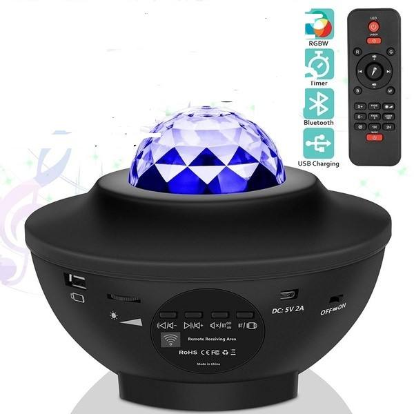 Star Projector Starry Projector Light With Remote Control& Built-In Music Player Ocean Wave Star