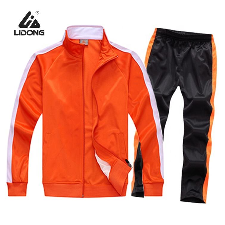 Oem Sportswear Sets Super Fit Quality Custom Mens casual Orange Tracksuit With Custom Logo
