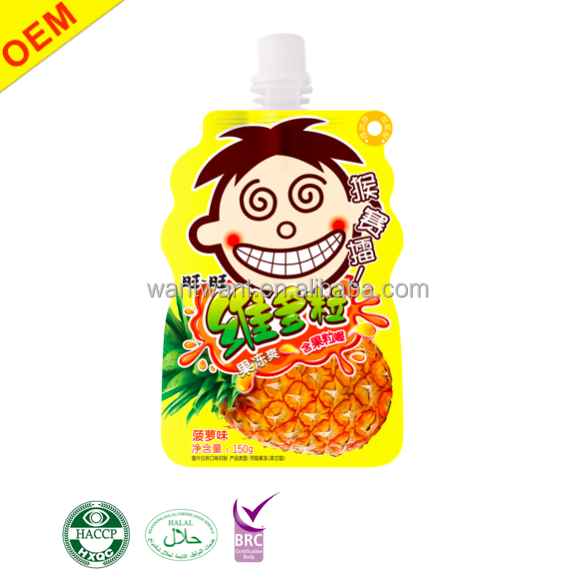 OEM Fruit Jelly Drinks Squeeze Pouches Real Fruit Juice Beverage Contains Nata de Coco Snacks For Kids Halal Pineapple Flavor