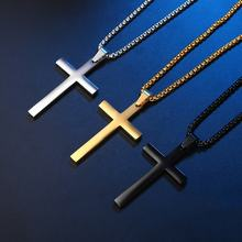Fashion Stainless Steel For Mens Hot Selling Black Plated Cross Men'S Christian Jesus Pendant Cross Necklace