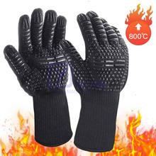 1472F Fireproof Cooking Aramid Cut Heat Resistant Grill Barbecue Kitchen Baking Double Oven Mitts BBQ Silicone Gloves