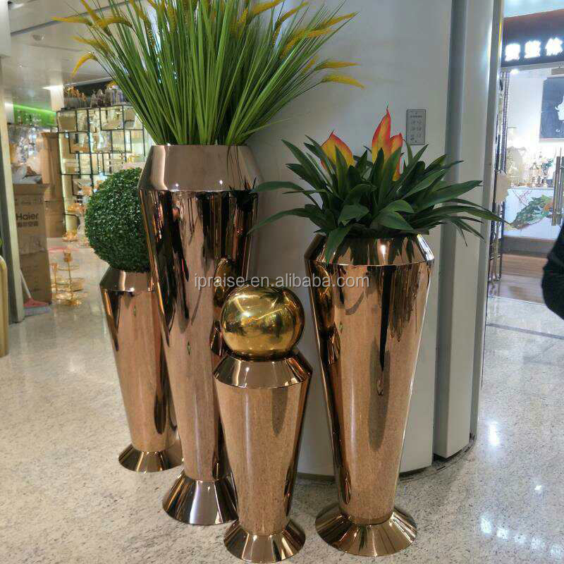 Luxury Polished Stainless Steel Rose Gold Flower Pot / Flowerpot
