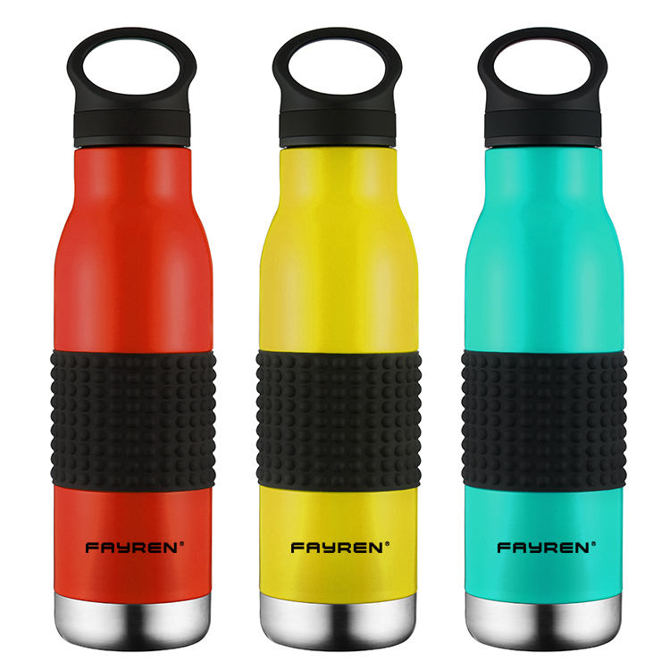 FAYREN 500ml vacuum gatorade branded silicone water bottle with handle