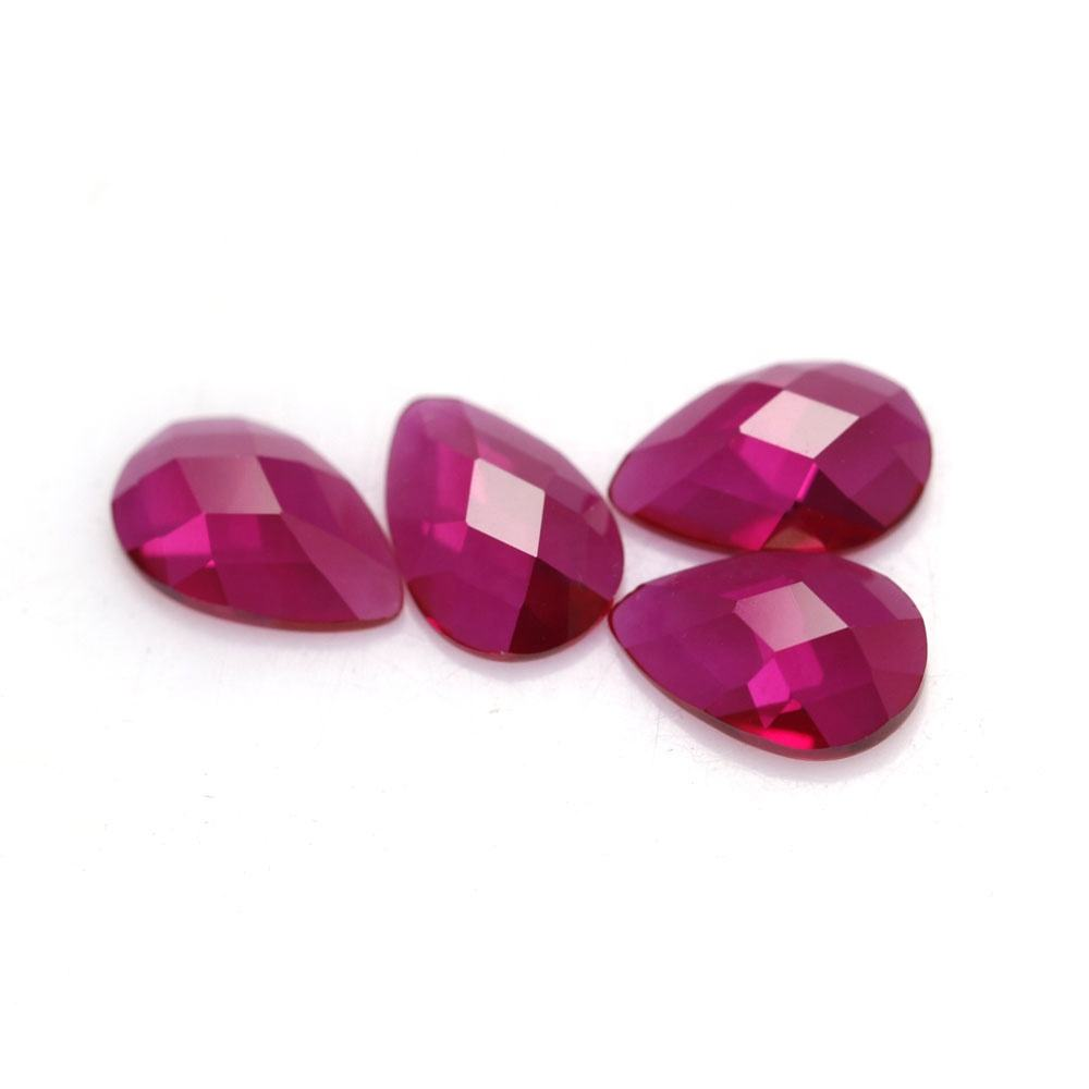 Faceted pear cut flat back 5# red corundum ruby stone