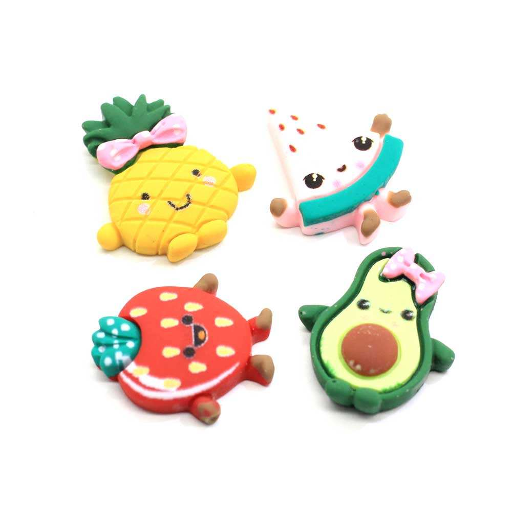 100Pcs Cartoon Fruit Flatback Resin Cabochon Kawaii Smile Face Cabochons Embellishments For Scrapbooking DIY Kid Hair Bows