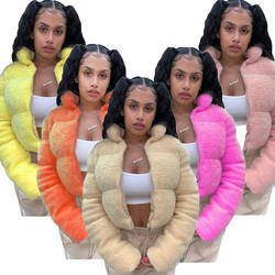 Women Puffer Bubble Crop Coats Puff Ladies Jackets Coats Wom