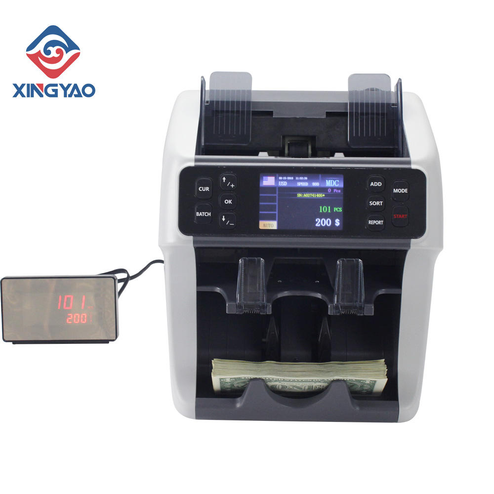 2 Pocket Value Bill Counter and Sorter mixed denomination money counter For TZS/ARS/PEN/MXN bill detector machine Value Counter