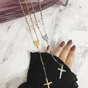 Stainless steel coin Cross pendant oval Madonna beads chain couple necklace accessories women necklace jewelry