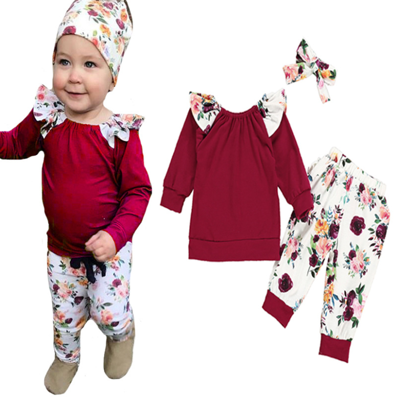 Spring and Autumn style pure color long sleeve lace T-shirt + floral pants hair belt baby three sets of girls set