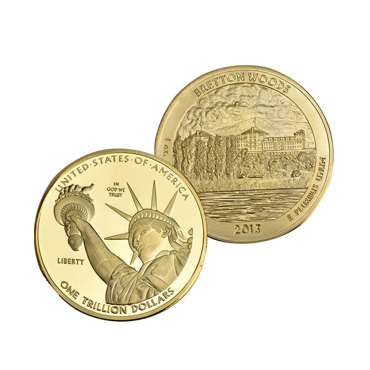 Custom 1 Trillion Dollar Gold silver plated United States Collection Metal Coin