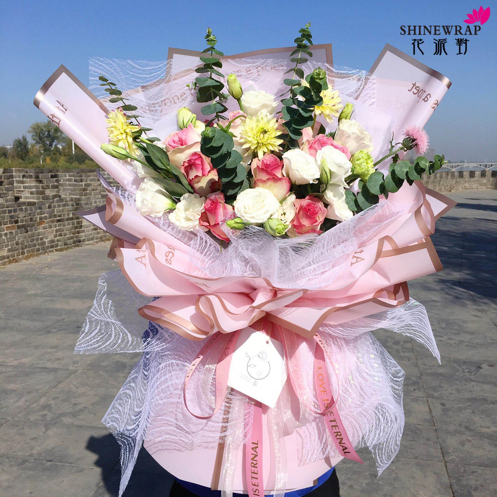 Deco poli renkli örgü Polyester örgü ruloları çiçek sarma örgü doku hediye dostu yeniden kullanılabilir ambalaj kağıdı