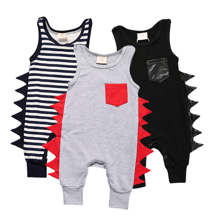 New design arrival high quality factory price summer boutique wholesale cotton boys jumpsuits infant toddler black baby romper