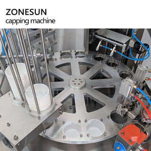 ZONESUN Automatic Jelly Yogurt Ice Cream Juice Sugar Honey Rotary Cup Discal Filling Capping Sealing Machine