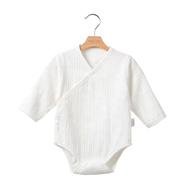 100% cotton spring jacquard knitting plain baby romper long sleeve sanp buttons jumpsuit
