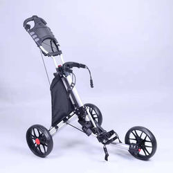 Playeagle Golf Cart Foldable Golf Push Pull Trolley 3 Wheels Portable Stable Quick Fold Golf Trolley with Cushion