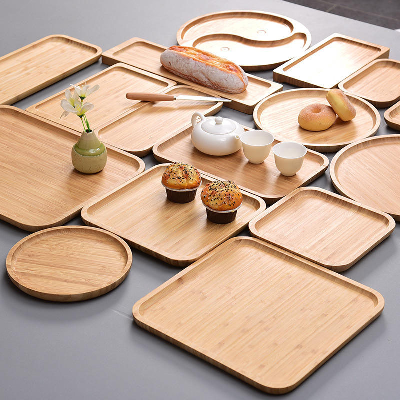 2021 Eco friendly ramadan rectangular small round square tea cup wooden hotel 100% natural bamboo serving plate food grade trays