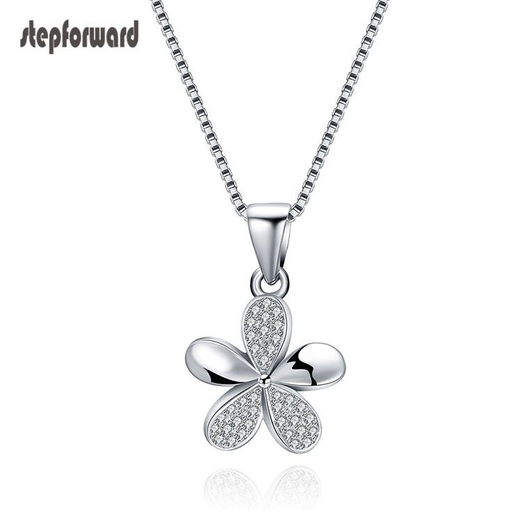 Fashion 925 Sterling Silver Cubic Zirconia Necklace For Women And Girls Flower Jewelry With Adjustable Chain
