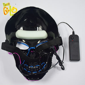 High-End Halloween El Draad Masker Enge Schedel Light Up Neon Cosplay Dj Masker Voor Kostuum Decoratie