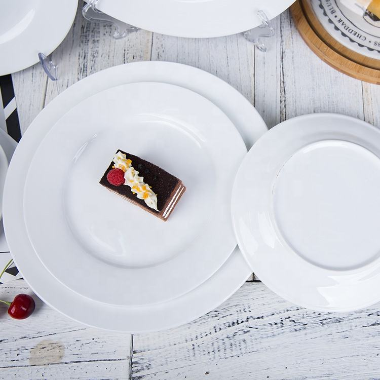 White round porcelain ceramic dinner plate for catering