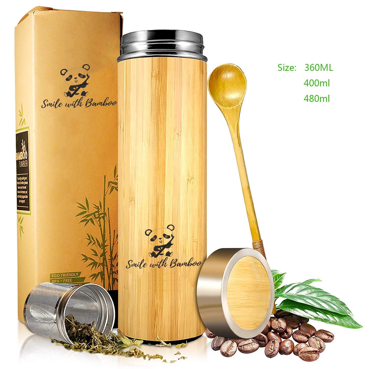 Factory Direct Sales Eco Laser Engraving Logo Insulated Bamboo Water Bottle Stainless Steel Bamboo Thermos
