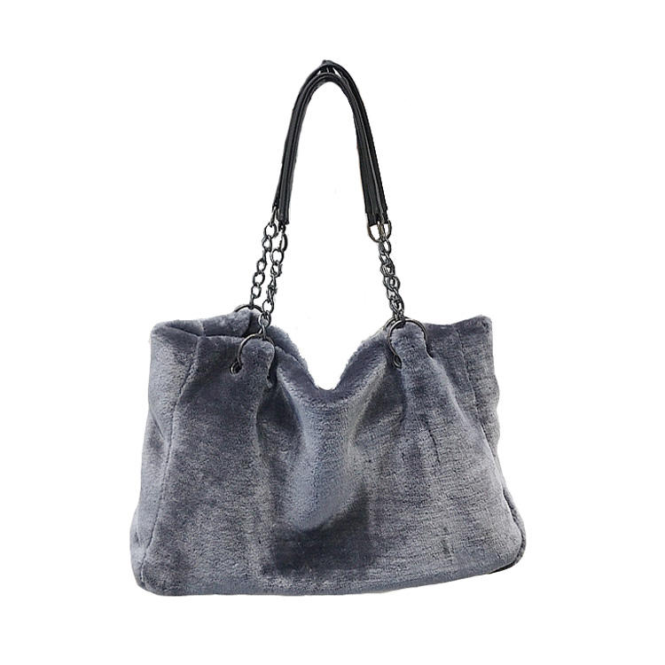 wholesale young women's boutique soft fabric big rabbit fur shoulder handbags