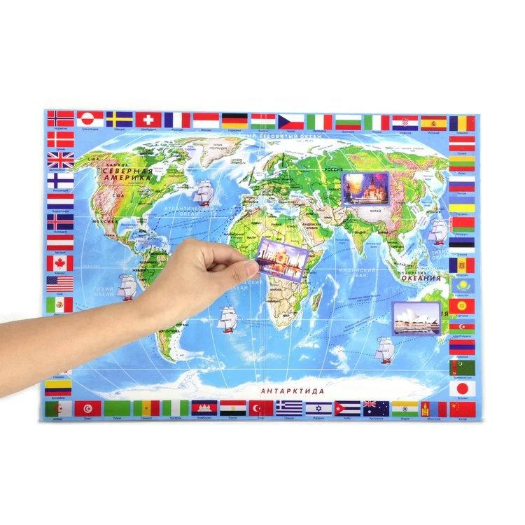 New design magnetic world map for kids education learning
