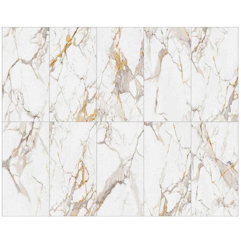 Ultra Thin 5.5mm Calacatta Gold 900x1800 Large Slab Polished Glossy Wall Porcelain Tile Looks Like marble