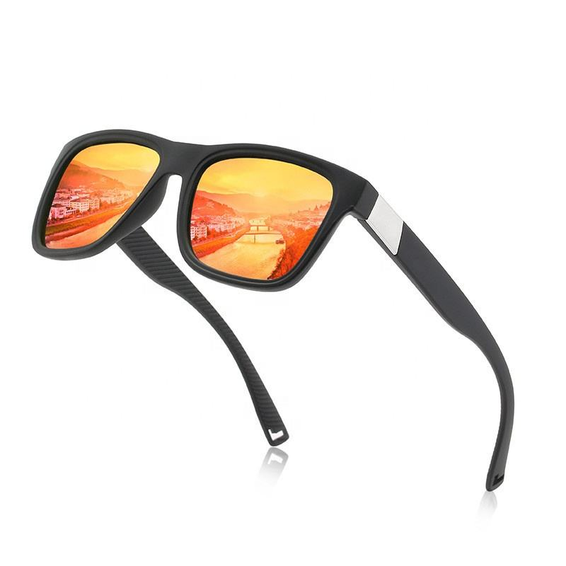 Brand Design Classic custom colorful film Sports Polarized Sunglasses Men Women Driving Square Frame Sun Glasses