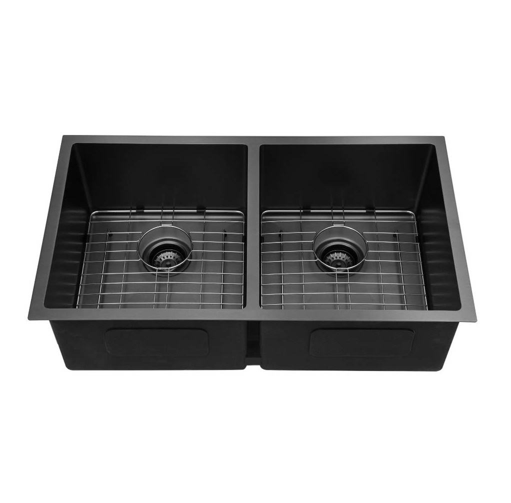 33 Inch Drop-in Topmount Kitchen Sink Matte Black Double Bowl 16 Gauge Stainless Steel Kitchen Sink