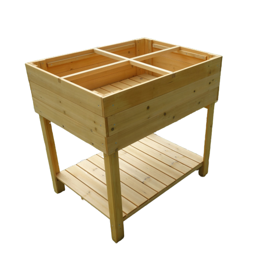 factory custom outdoor waterproof wooden flower pot plant grow garden raised bed potting bench table with shelf