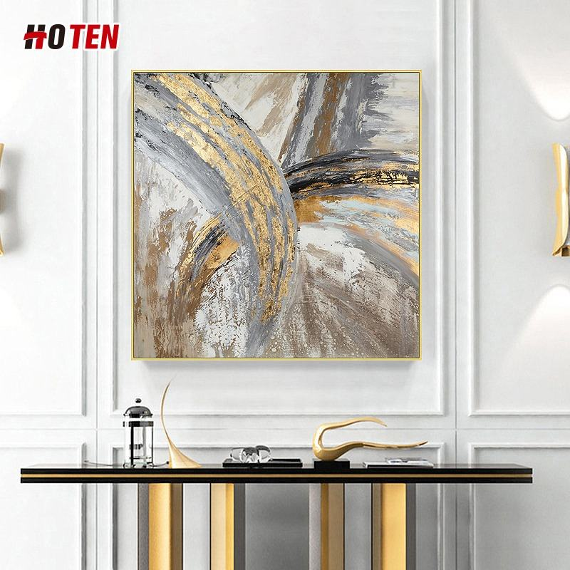 Hand-painted living room oil painting restaurant decoration painting modern minimalist hanging painting gold leaf mural