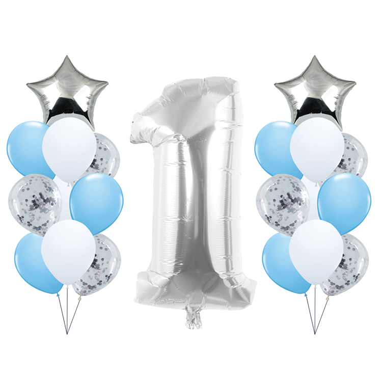 Boys Hapyy Birthday Party Decoration Silver Confetti Foil And Latex Star Number Balloons Set
