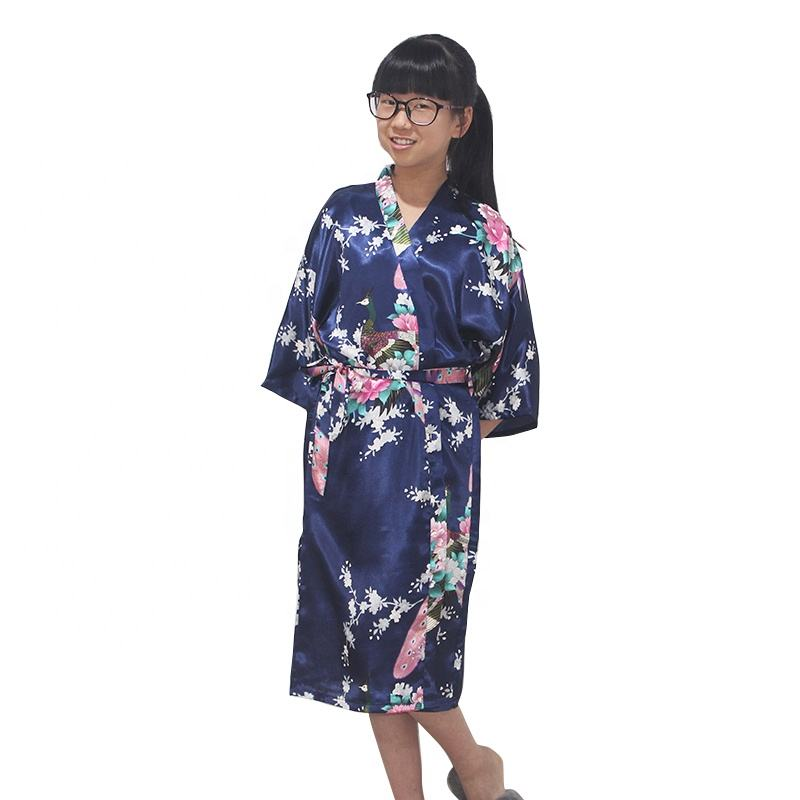 New Fashion Girls Colorful Floral Robe Night Skirt High Quality Kids Bathrobe