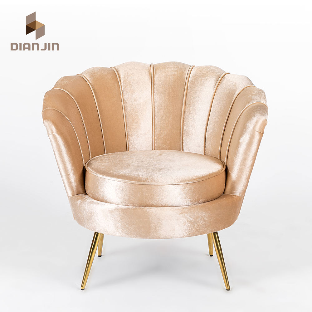 Modern Living Room Leisure Sofa Chair Velvet Armchair Shell Shaped Metal Arm Accent Chair For Bedroom