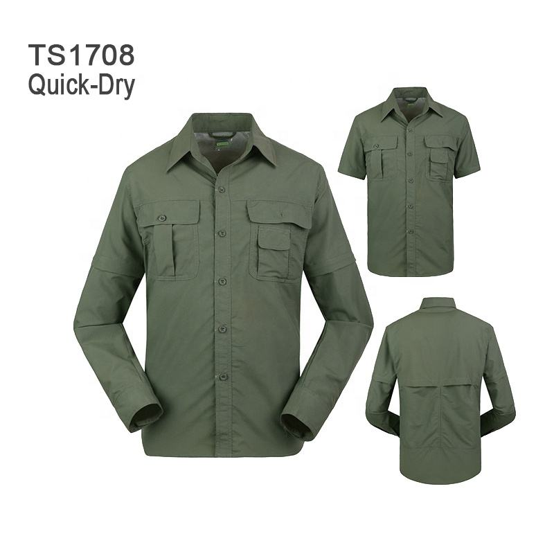 Men's Quick-Dry Tactical Shirt Army Uniform Shirt Removable Long Sleeve for Hiking Climbing Hunting Detachable Sleeve Shirt