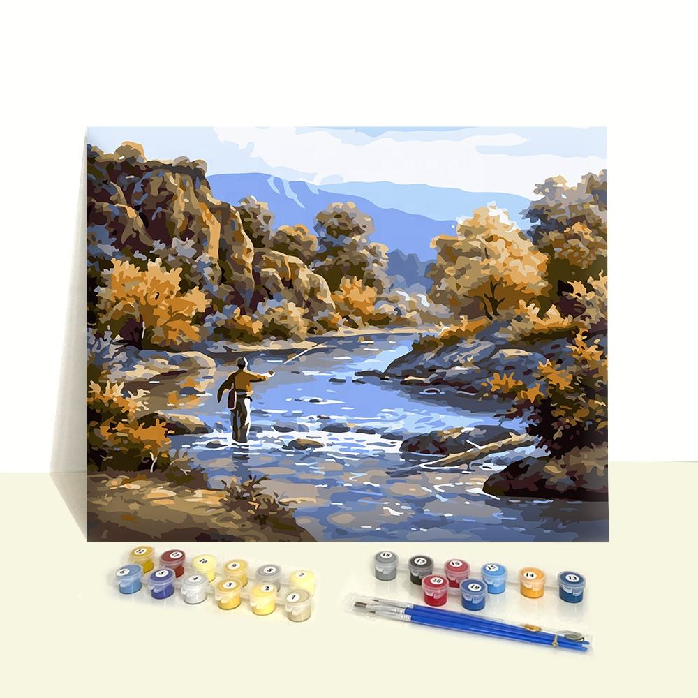 Modern Landscape Riverside Diy Arts Set Unstretched Canvas Acrylic Paint by Number Painting