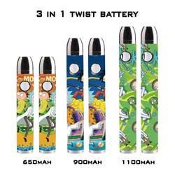 2020 Top selling 350mah/650mah/900mah/1100mah/1300mah adjustable voltage preheat twist c b d battery 3 in 1 kit