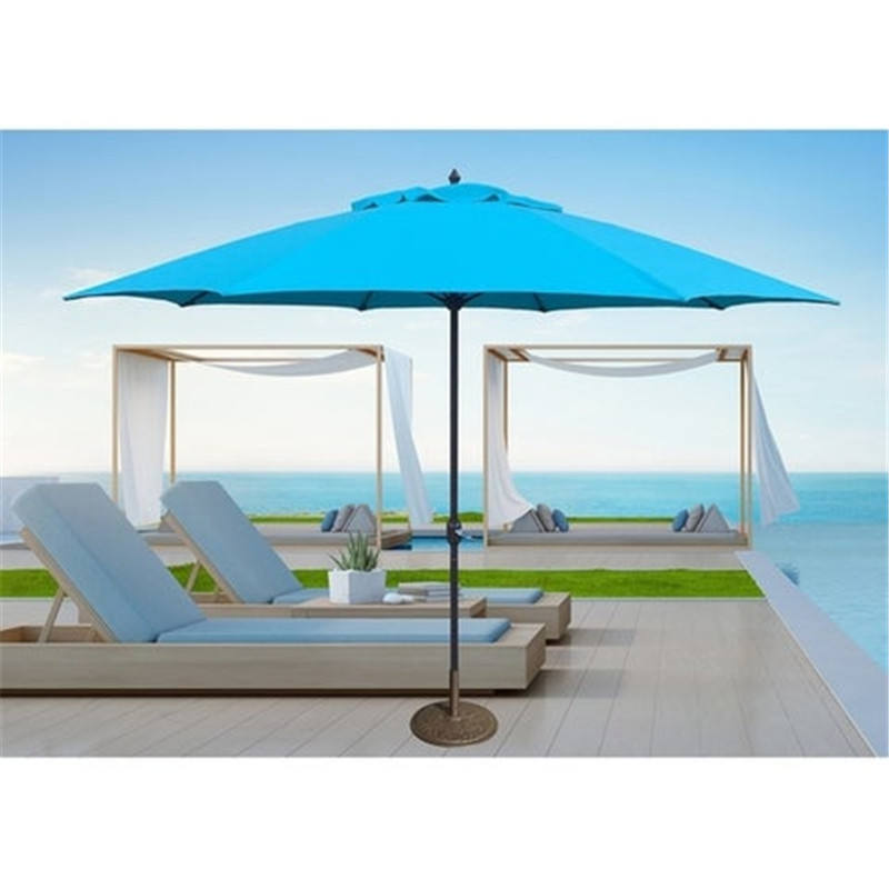 wholesale waterproof aluminum frame umbrella garden lined used patio umbrella parasol with base with logo prints