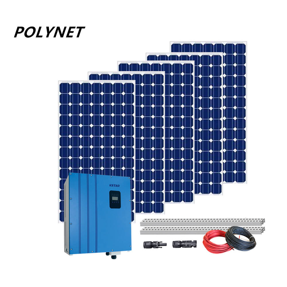 Polynet 3kw 5kw 10kw 15kw 20kw on grid solar panel powerl system 380v photovoltaic energy kits