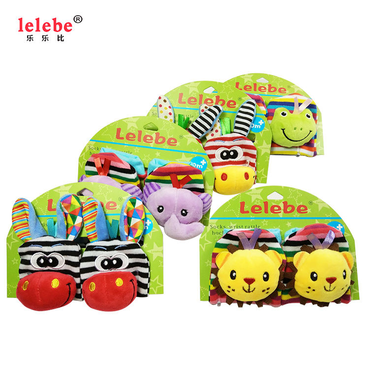 customization Animal Head Stationery Plush Striped Socks Baby Wrist Belt Bell Socks Foot Bell Baby Toys
