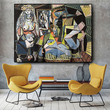 Women Of Algiers Prints  Canvas Wall Art Picture  Living Room Cuadros Decoration pablo picasso abstract painting picasso