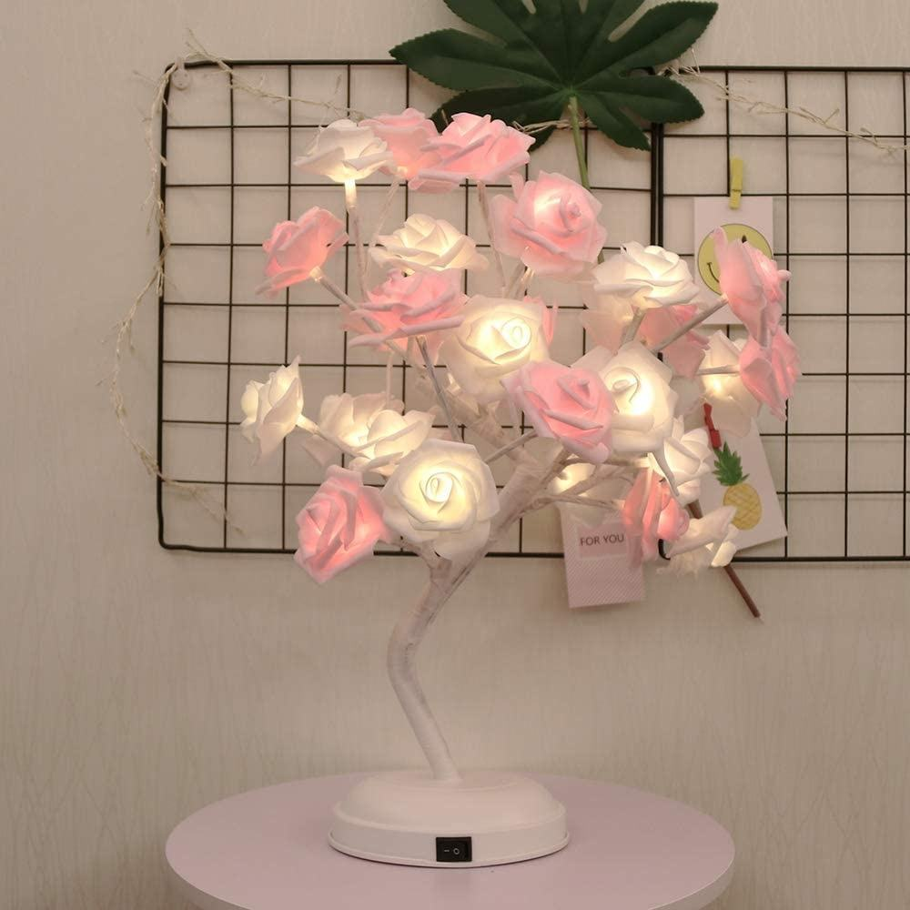 Rose Flower Table Lamp LED Rose Desk Tree Light 17.71 inch with 32leds Home Decor for Valentine's Day Party Wedding Bedroom