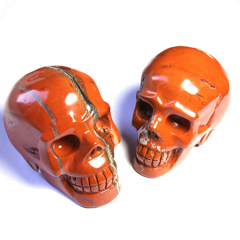 Wholesale Natural Semi precious Gemstone Handcarved Red Jasper Skulls For Decoration