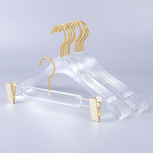New clothing store transparent clear rack acrylic clothes and pants hanger with Gold Hook