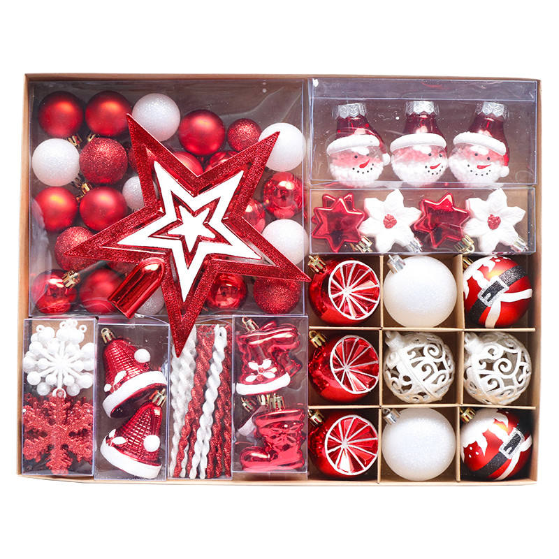 Yiwu Shuangyuan Xmas Factory sale Top grade christmas gift box suit red decorative plastic ball for winter