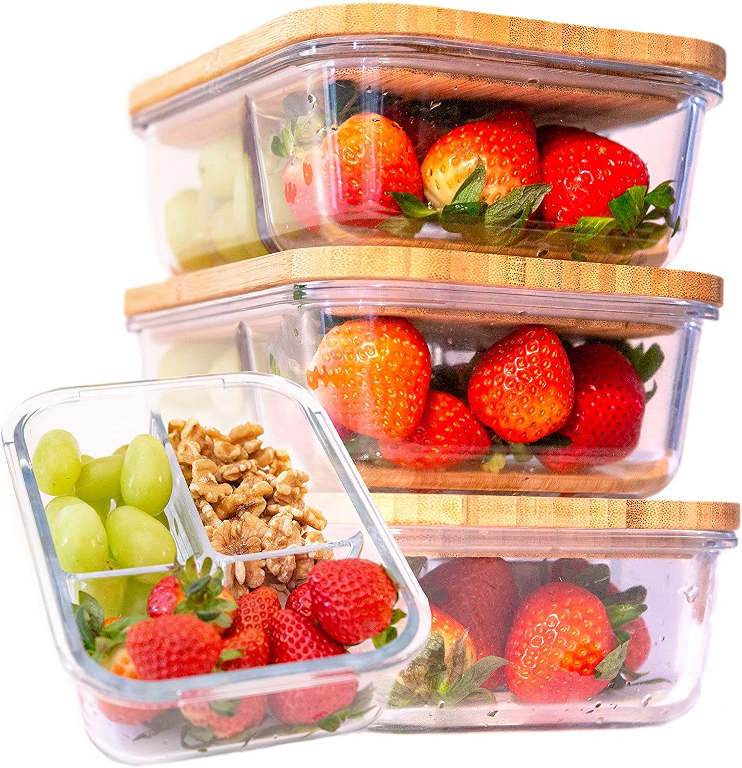 Glass Meal Food Container With Bamboo Lid Amazon Hot Promotion