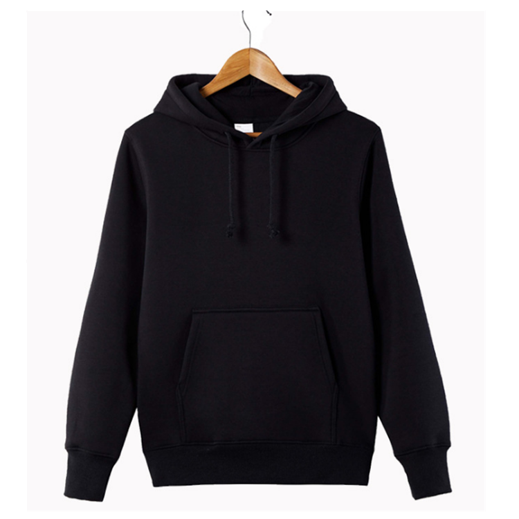 Logo Customized Pullover Winter Warm Mens Black Hoodie